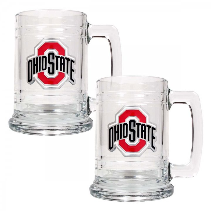 Ohio State Buckeyes NCAA 2Pc Glass Tankard Set (Clear)