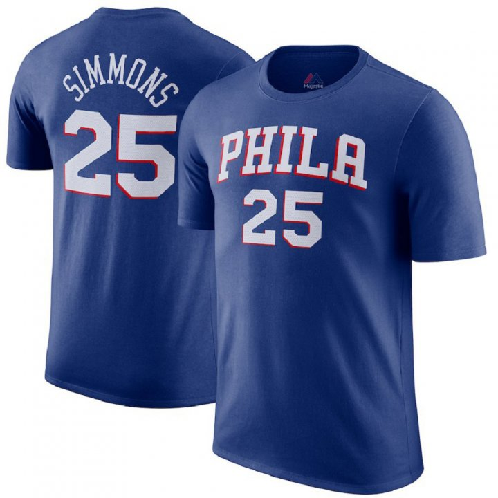Franklin Sports Men's Philadelphia 76ers #25 Ben Simmons Blue T-Shirt
