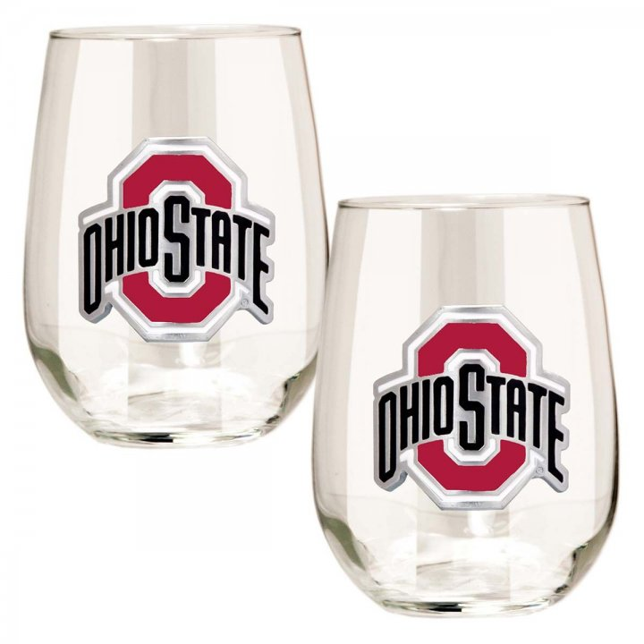 Ohio State Buckeyes NCAA 2 Piece Stemless Wine Glass Set (Clear)