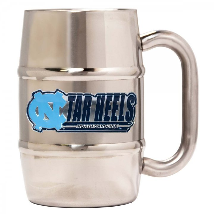 North Carolina Tar Heels 16 oz Double Wall Stainless Steel Mug (Silver)