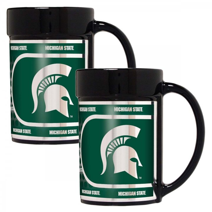 Michigan State Spartans NCAA 2 Piece Coffee Mug Set with Metallic Graphics (Black)