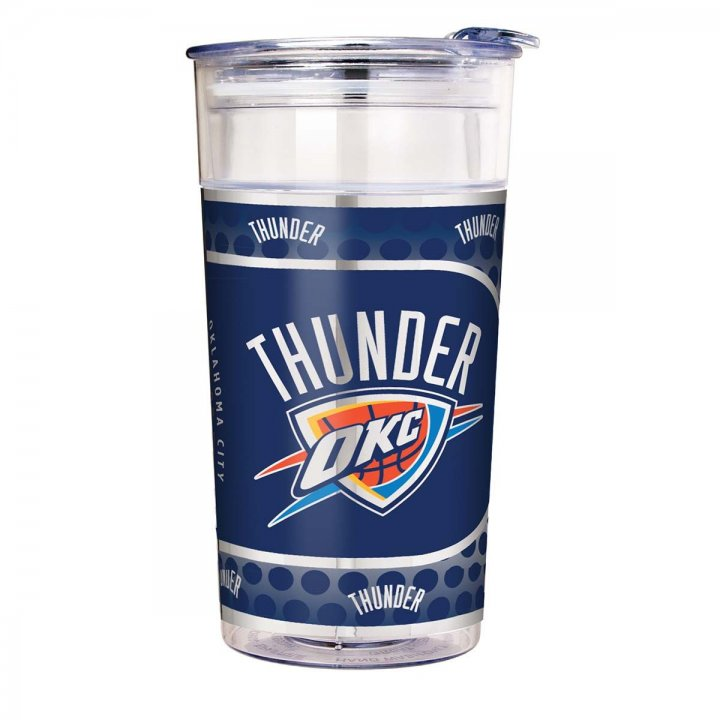 Oklahoma City Thunder NBA Oklahoma City Thunder 22 oz Double Wall Acrylic Party Cup with Metallic Graphics (Clear)