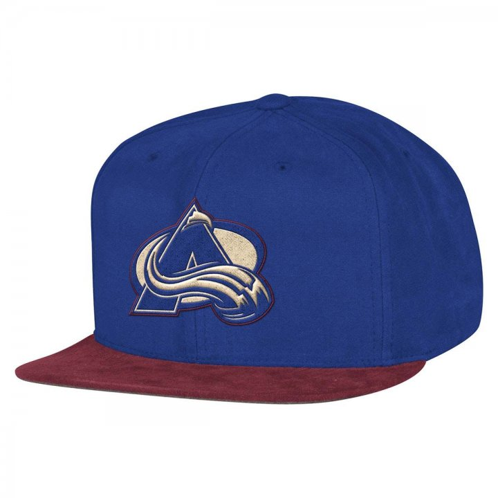 Mitchell & Ness Colorado Avalanche Sandy Off White Snapback Hat (Royal)