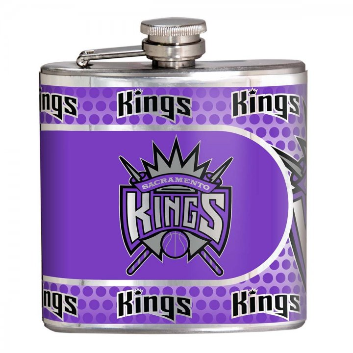Sacramento Kings NBA 6 oz Stainless Steel Hip Flask with Metallic Graphics (Silver)