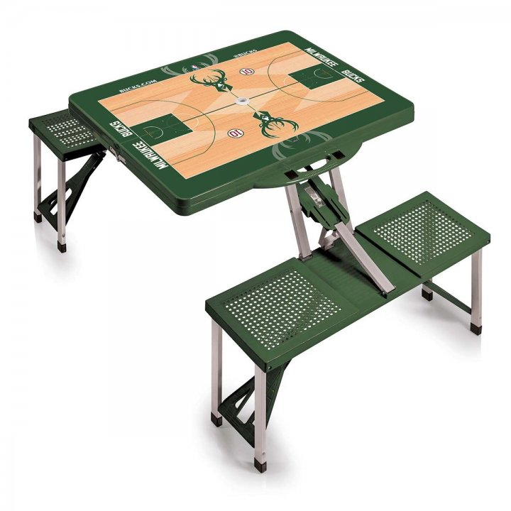 Milwaukee Bucks Portable Picnic Table with Sports Field Design