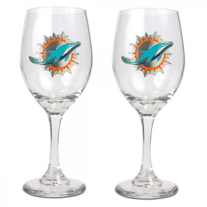 Miami Dolphins Miami Dolphins 2 Piece Wine Glass Set
