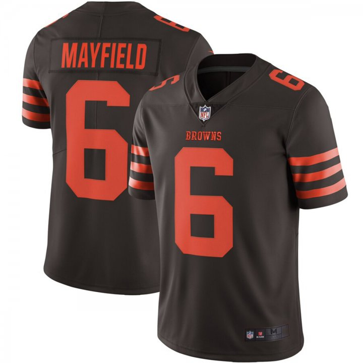 Franklin Sports Men's Cleveland Browns #6 Baker Mayfield Brown Embroidered Name & Number Jersey