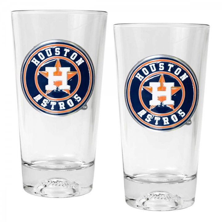 Houston Astros MLB 2 Piece Pint Ale Glass Set with Baseball Base (Clear)