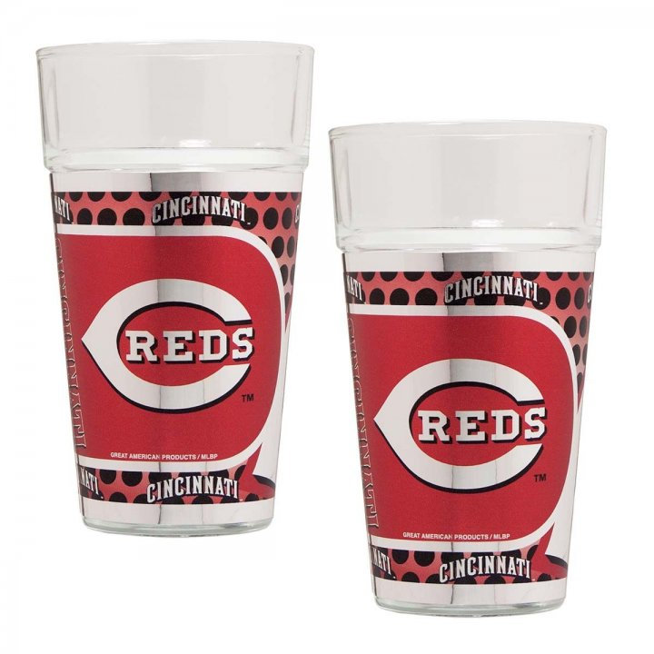 Cincinnati Reds MLB 2 Piece Pint Glass Set with Metallic Graphics (Clear)