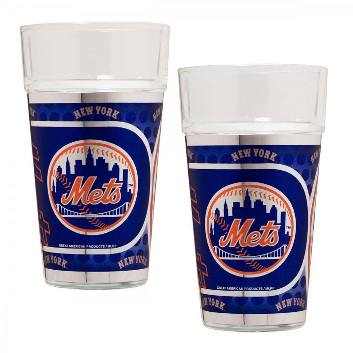 New York Mets MLB 2 Piece Pint Glass Set with Metallic Graphics (Clear)
