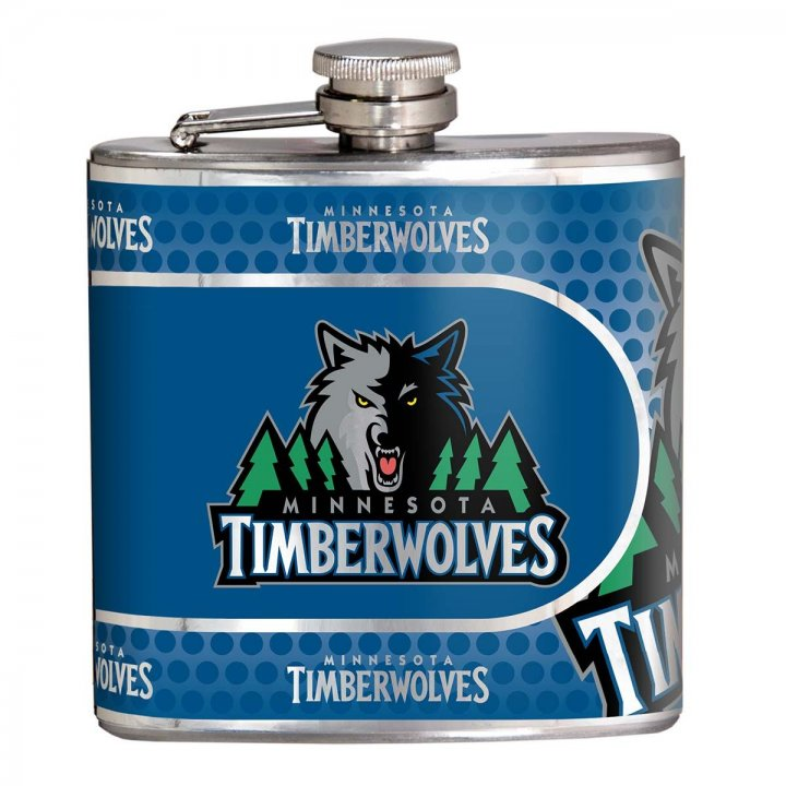 Minnesota Timberwolves NBA 6 oz Stainless Steel Hip Flask with Metallic Graphics (Silver)