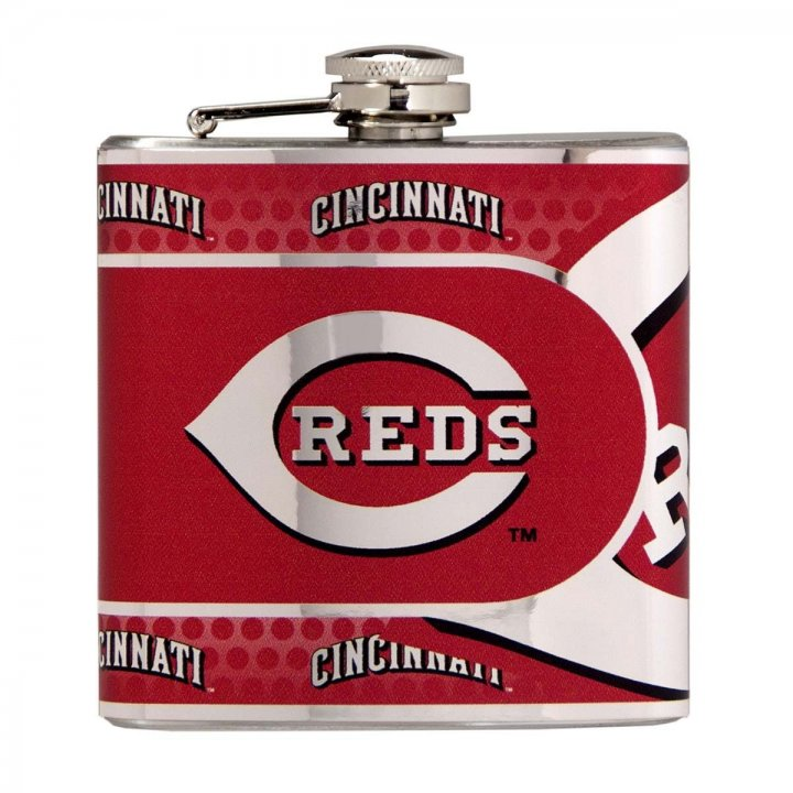 Cincinnati Reds 6 oz Stainless Steel Hip Flask with Metallic Graphics (Silver)