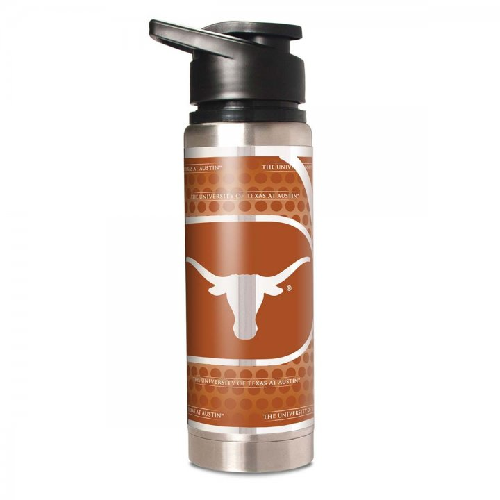 Texas Longhorns NCAA 20 oz Double Wall Stainless Steel Water Bottle with Metallic Graphics (Silver)