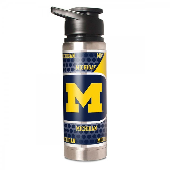 Michigan Wolverines NCAA 20 oz Double Wall Stainless Steel Water Bottle with Metallic Graphics (Silver)