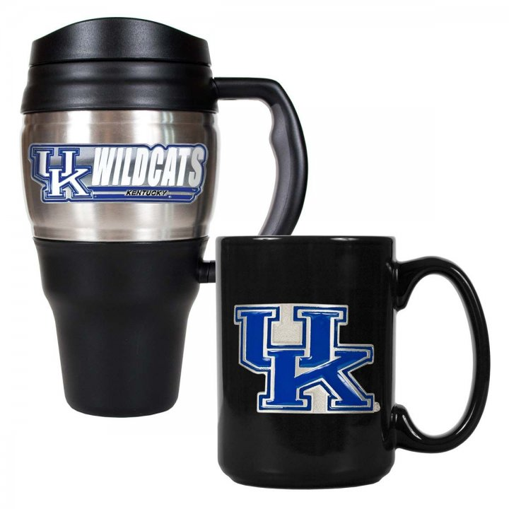 Kentucky Wildcats NCAA 20 oz Heavy Duty Travel Mug and 15 oz Ceramic Mug Set (Silver/Black)