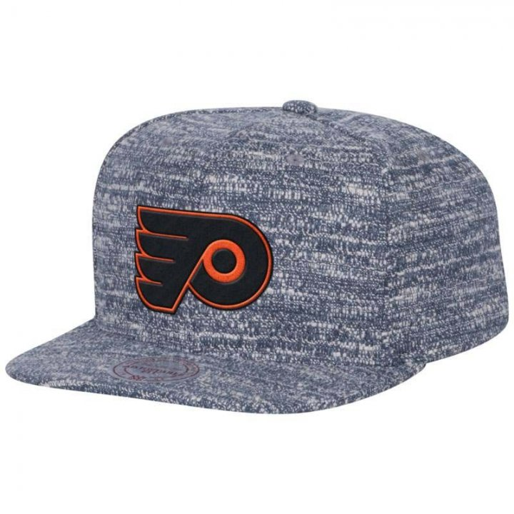 Mitchell & Ness Philadelphia Flyers Grey Noise Snapback Hat (Gray)