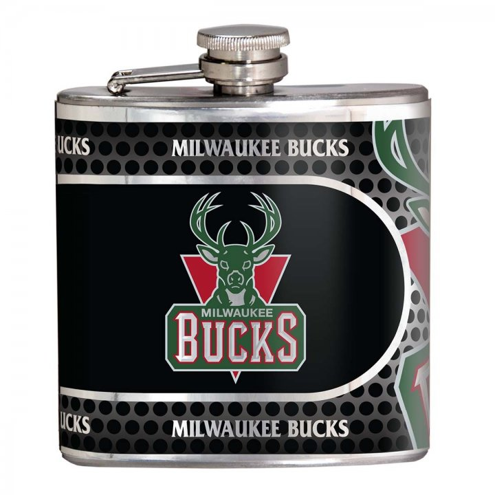 Milwaukee Bucks NBA 6 oz Stainless Steel Hip Flask with Metallic Graphics (Silver)