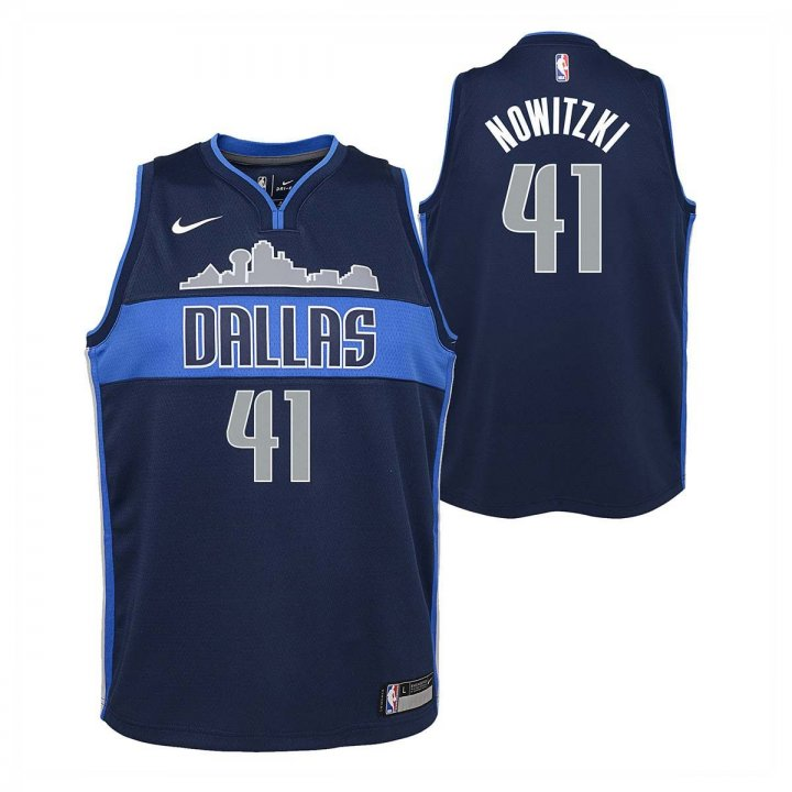 Dallas Mavericks NBA Dirk Nowitzki Youth Statement Swingman Jersey (Navy)