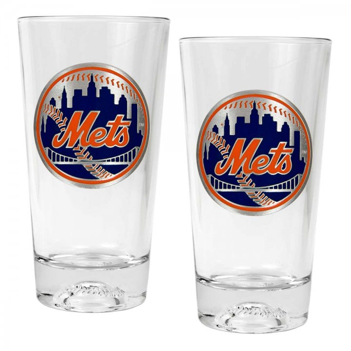 New York Mets MLB 2 Piece Pint Ale Glass Set with Baseball Base (Clear)