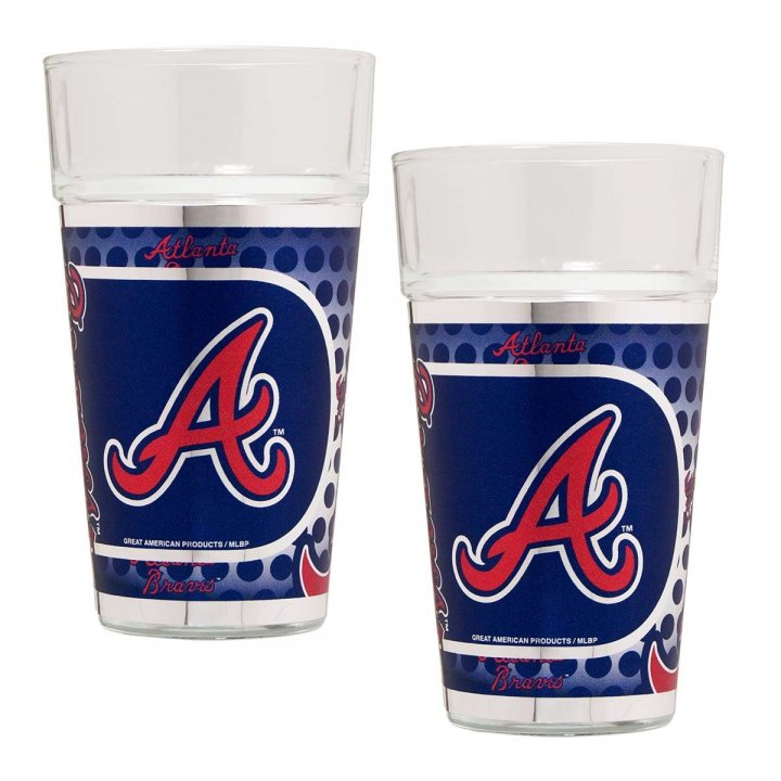 Atlanta Braves MLB 2 Piece Pint Glass Set with Metallic Graphics (Clear)