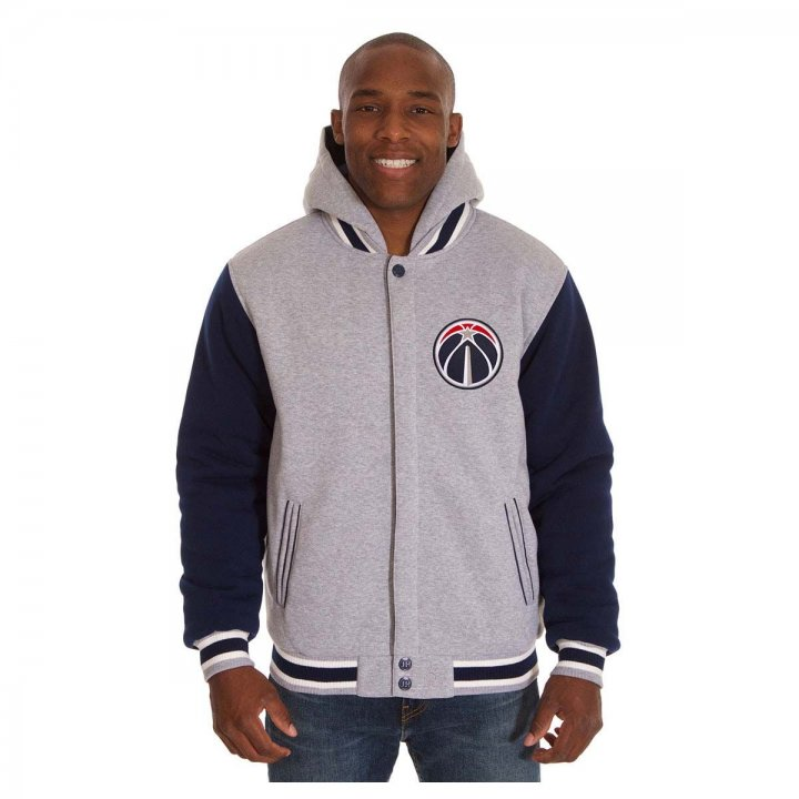 Washington Wizards Patch Program Reversible Fleece Hooded Button Snap Jacket (Navy)