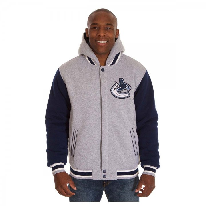 Vancouver Canucks Patch Program Reversible Fleece Hooded Button Snap Jacket (Navy)
