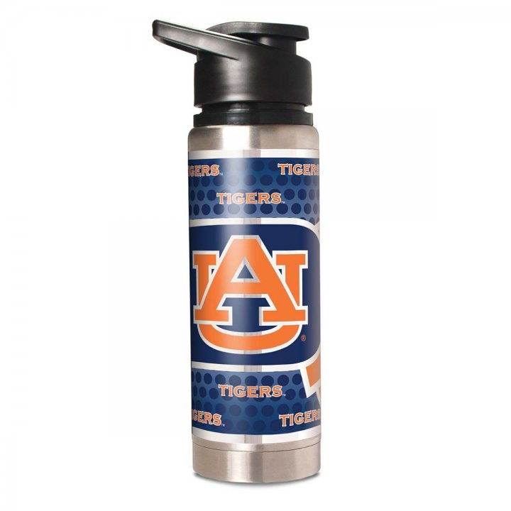 Auburn Tigers NCAA 20 oz Double Wall Stainless Steel Water Bottle with Metallic Graphics (Silver)