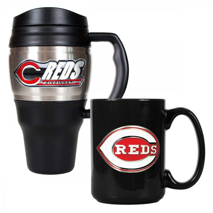 Cincinnati Reds MLB 20 oz Heavy Duty Travel Mug and 15 oz Ceramic Mug Set (Silver/Black)
