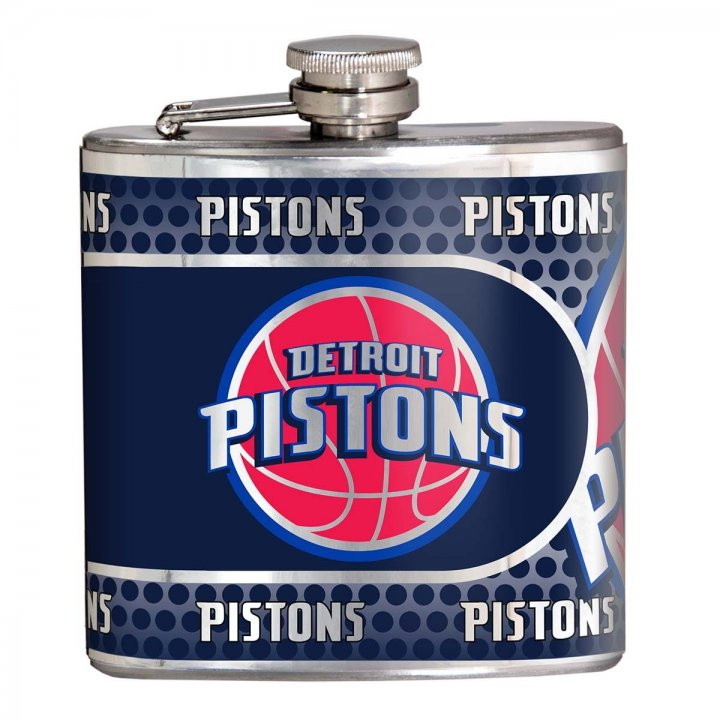 Detroit Pistons 6 oz Stainless Steel Hip Flask with Metallic Graphics (Silver)