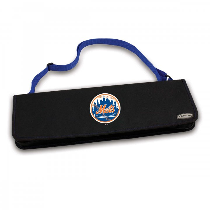 New York Mets Metro BBQ Tote and Tools Set (Blue)