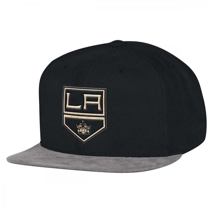 Mitchell & Ness Los Angeles Kings Sandy Off White Snapback Hat (Black)