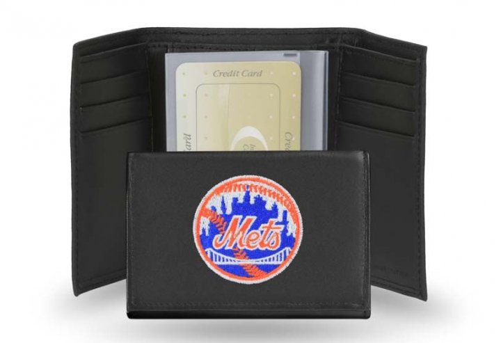 New York Mets MLB Leather Trifold Wallet (Black)