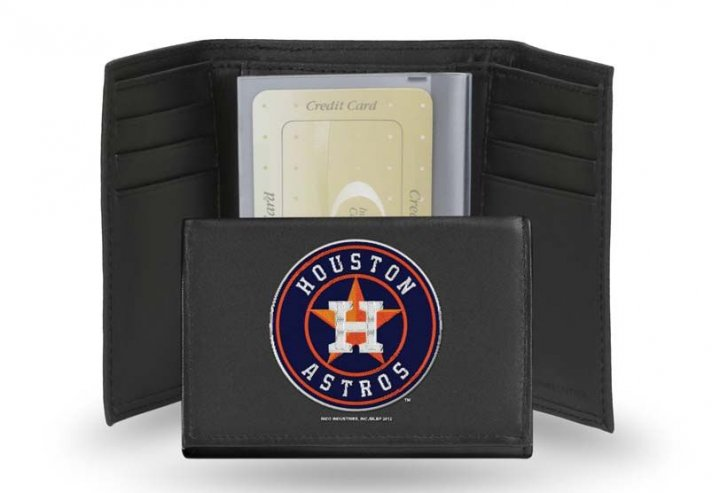 Houston Astros MLB Leather Trifold Wallet (Black)