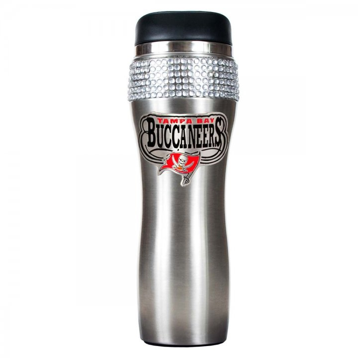 Tampa Bay Buccaneers Stainless Steel Bling Travel Tumbler (Silver)