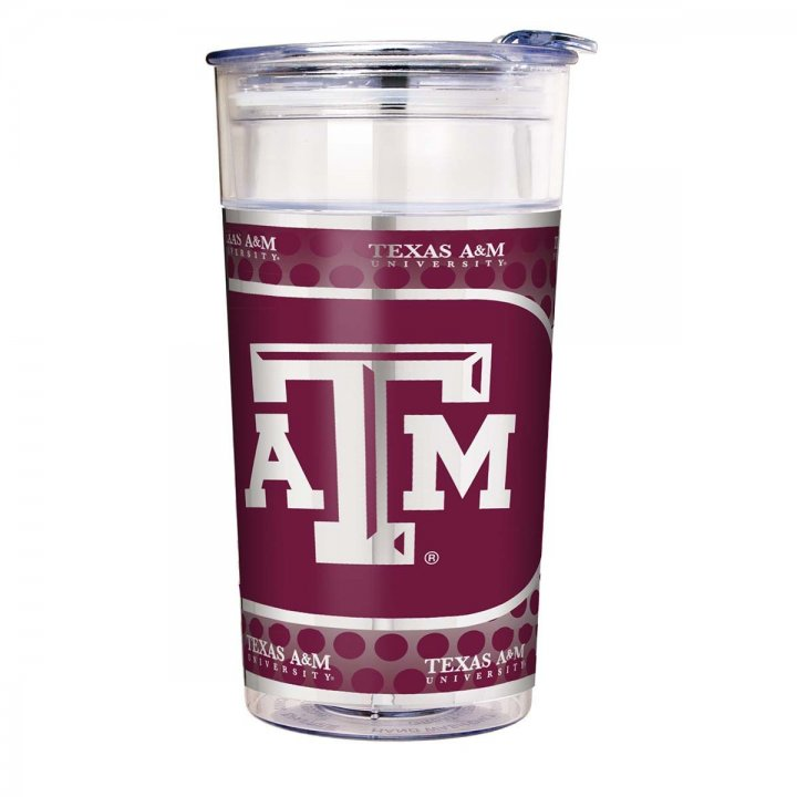 Texas A&M Aggies NCAA Texas A & M Aggies 22 oz Double Wall Acrylic Party Cup with Metallic Graphics (Clear)