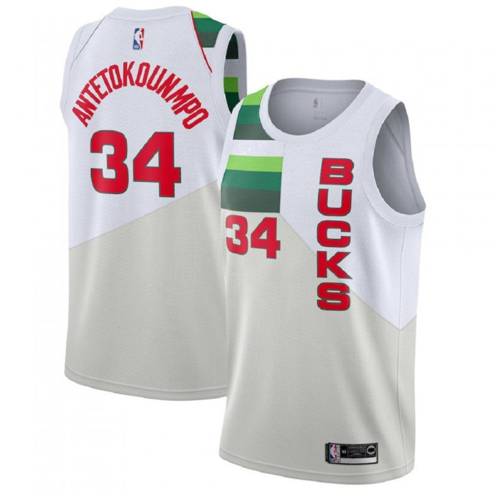 Majestic Athletic Giannis Antetokounmpo #34 Milwaukee Bucks 2018-19 Swingman Men's White Jersey