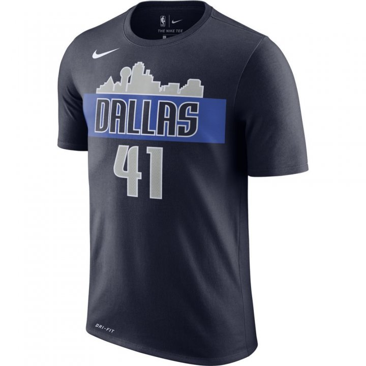 Dallas Mavericks NBA Dirk Nowitzki Shootaround Name & Number Tee (Navy)
