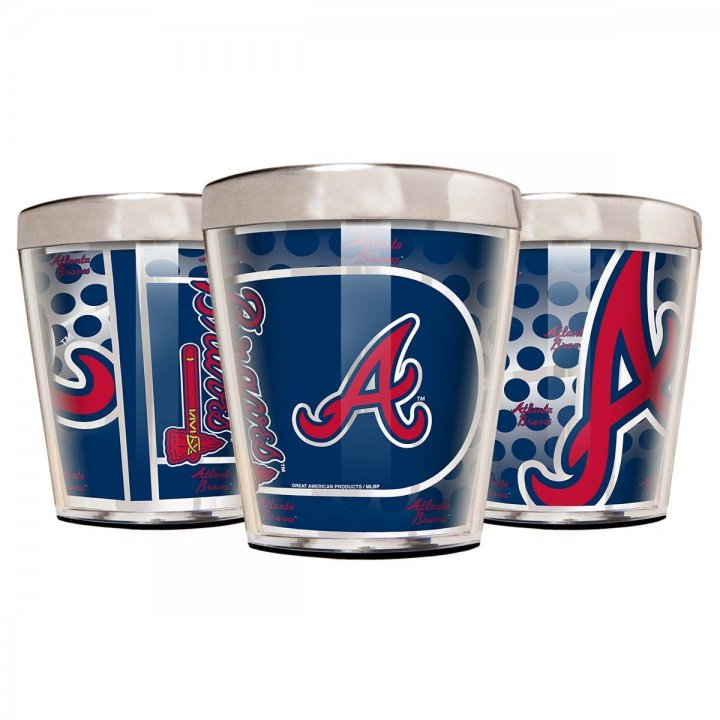 Atlanta Braves Atlanta Braves 3 Piece Stainless Steel & Acrylic Shot Glass Set with Metallic Graphics