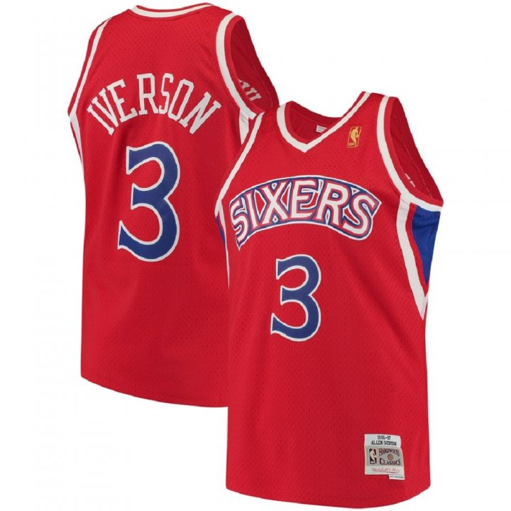 Franklin Sports Allen Iverson Philadelphia 76ers #3 1996-97 Hardwood Classics Swingman Jersey Red