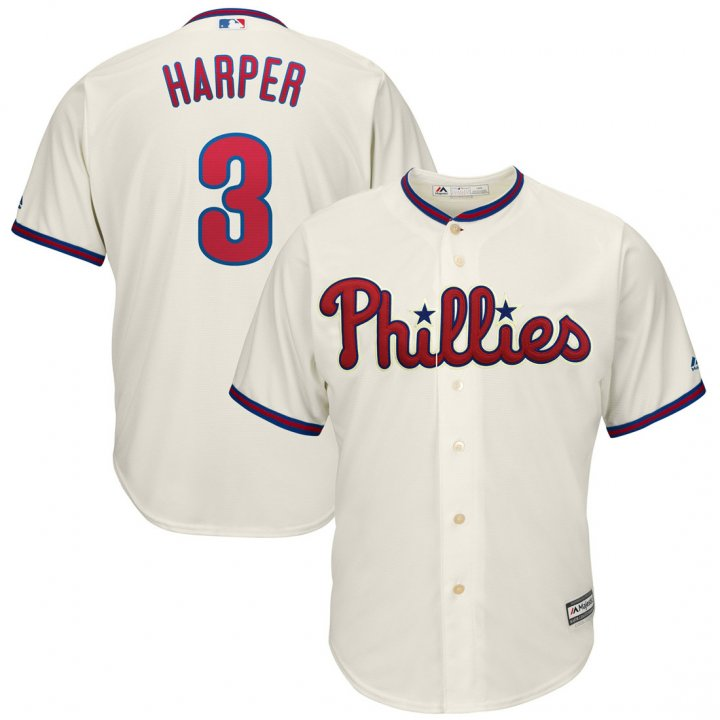 Outerstuff Youth Kids Philadelphia Phillies 3 Bryce Harper Player Baseball Jersey Cream