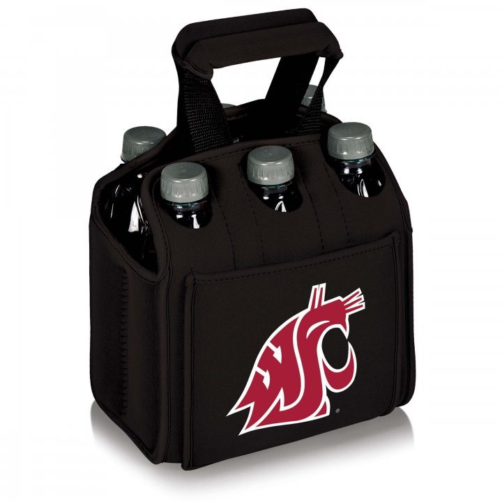 Washington State Cougars Six Pack Beverage Carrier (Black)