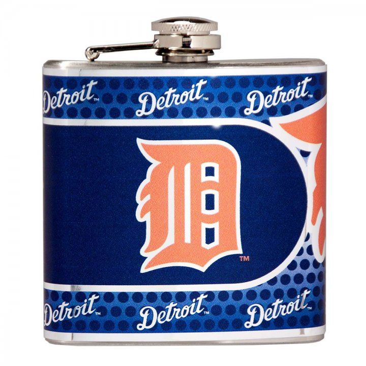 Detroit Tigers 6 oz Stainless Steel Hip Flask with Metallic Graphics (Silver)