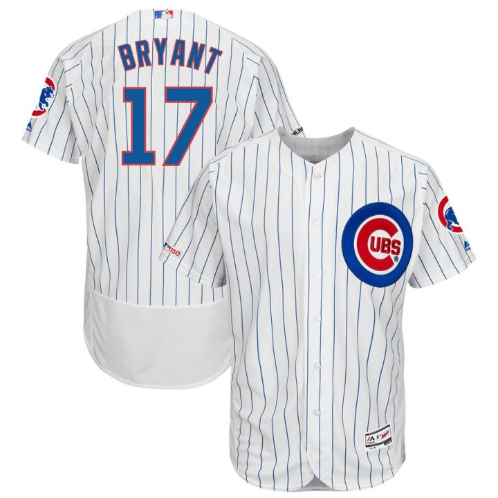 Majestic Athletic Kris Bryant Chicago Cubs 17# Men Home Flex Base MLB Authentic Swingman Collection Player Jersey - White
