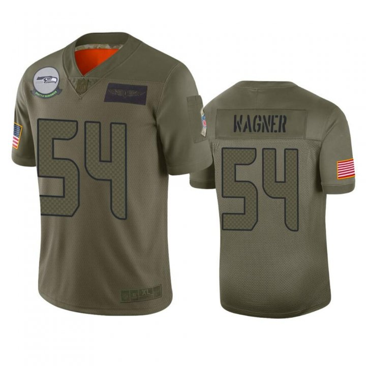 Franklin Sports Men's Seattle Seahawks #54 Bobby Wagner Camo 2019 Salute to Service Limited Jersey