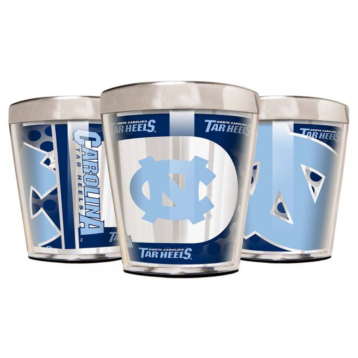 North Carolina Tar Heels NCAA 3 Piece Stainless Steel & Acrylic Shot Glass Set with Metallic Graphics (Silver)