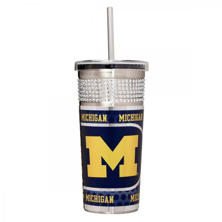 Michigan Wolverines NCAA 16 oz Silver Bling Tumbler with Straw (Silver)