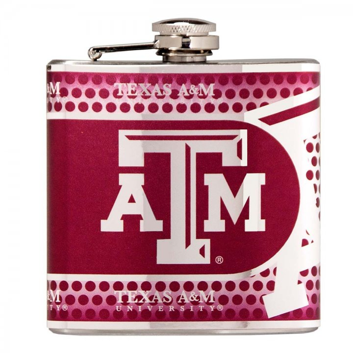 Texas A&M Aggies NCAA 6 oz Stainless Steel Hip Flask with Metallic Graphics (Silver)