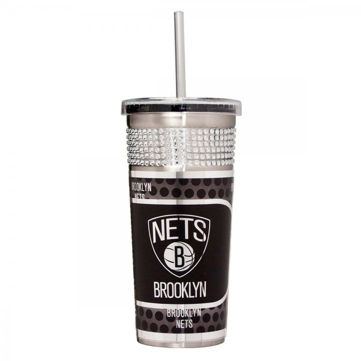Brooklyn Nets NBA 16 oz Silver Bling Tumbler with Straw