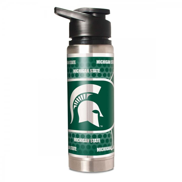 Michigan State Spartans NCAA 20 oz Double Wall Stainless Steel Water Bottle with Metallic Graphics (Silver)