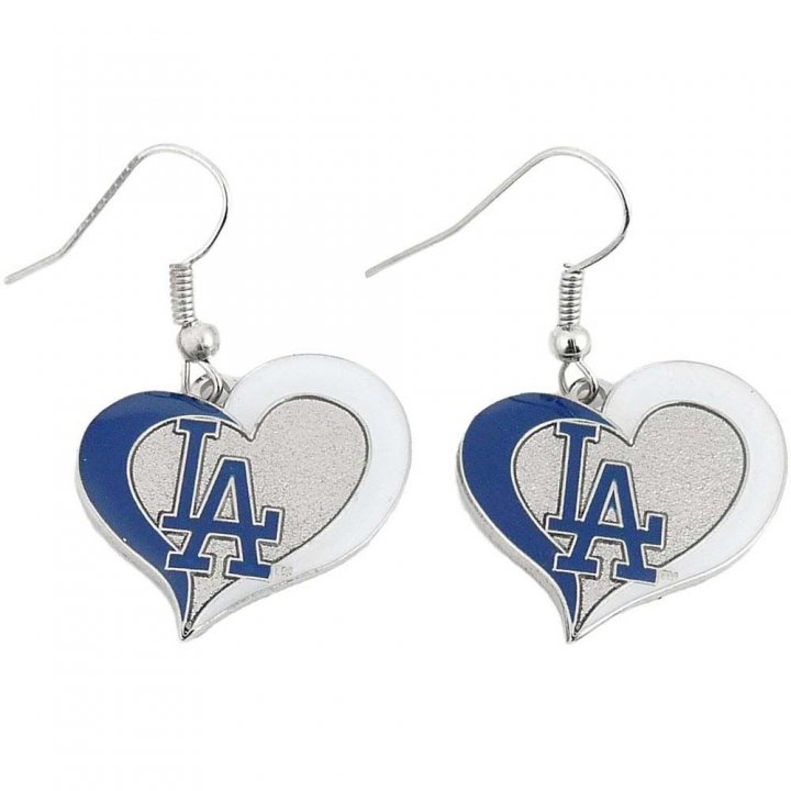 Los Angeles Dodgers Womens Swirl Heart Earrings